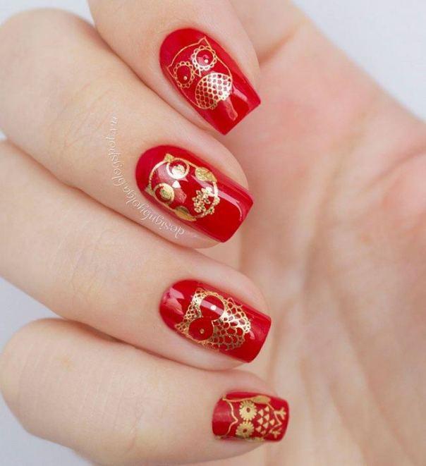 golden owls nail designs