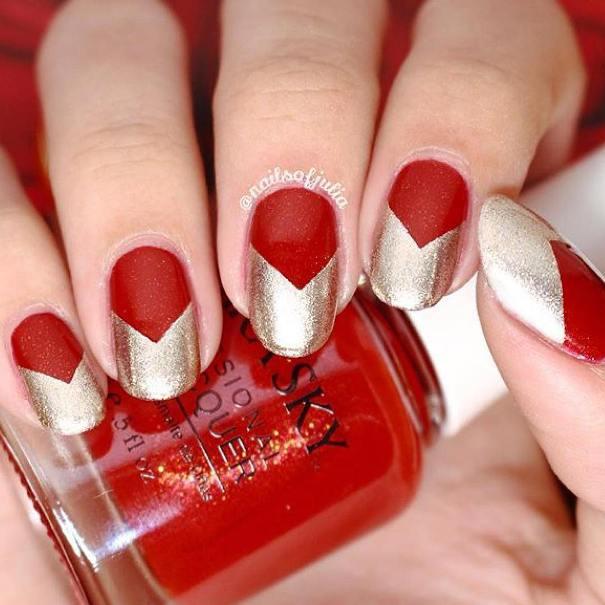 red and gold nail design bmodish