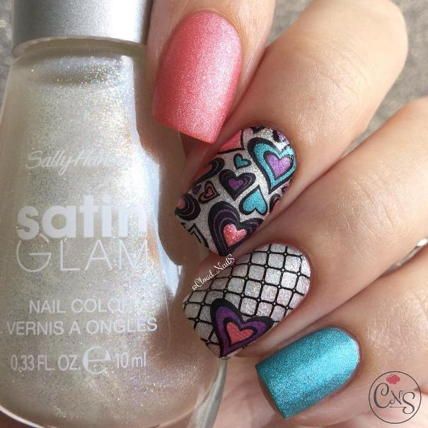 colorful heart stamping nail design