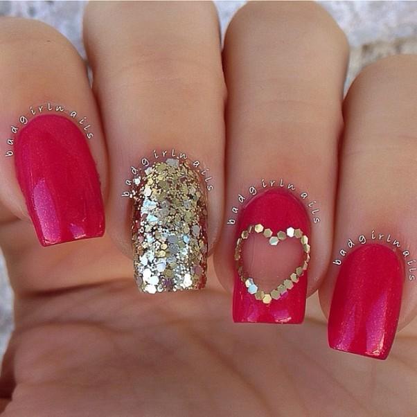 Glitter heart nail designs bmodish