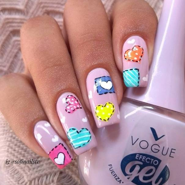 Heart Patch Nail Art