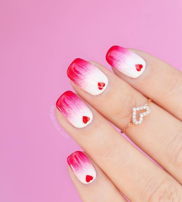 eart shaped gradient valentine nail design