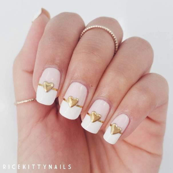 heart studs white nail designs