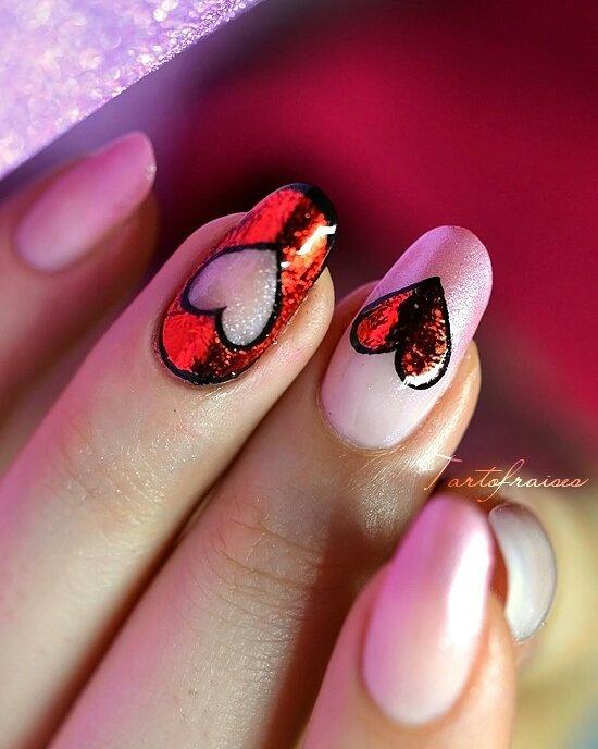 foil paper valentine's day nail art