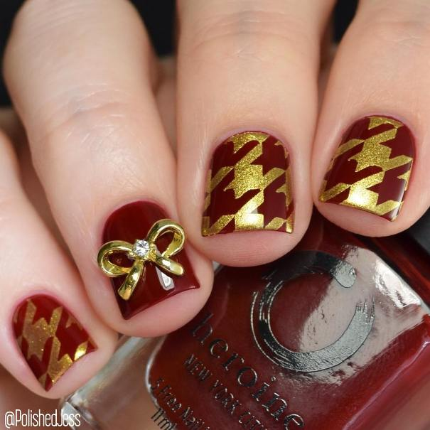 red and gold houndstooth short nail designs bmodish