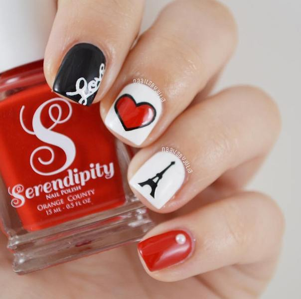 Love paris heart valentine nail designs