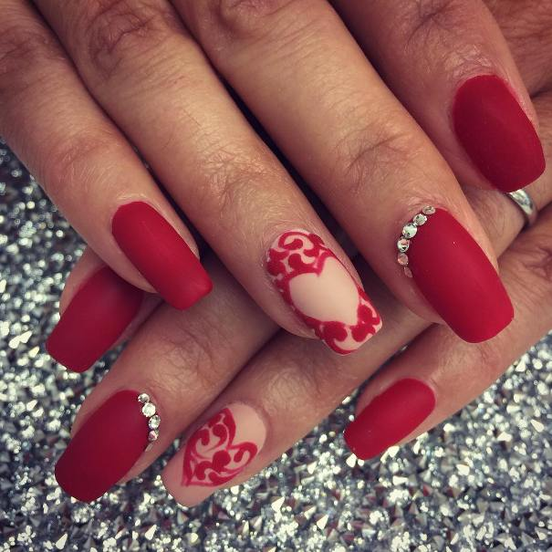 matte red heart nail designs