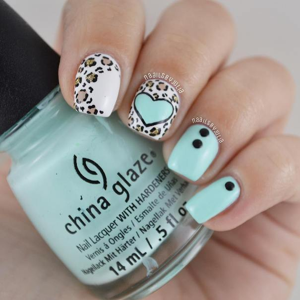 Mint Green Leopard and Heart Nails
