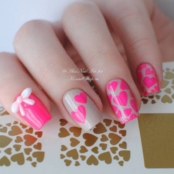 Neon Pink Hearts with Ribbon Bow Nail Design