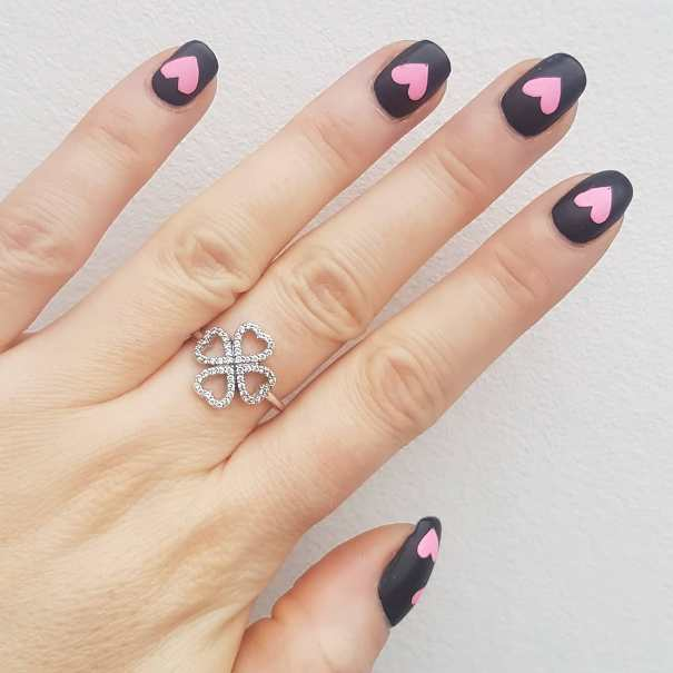 Pink Hearts Matte Black Nail Design