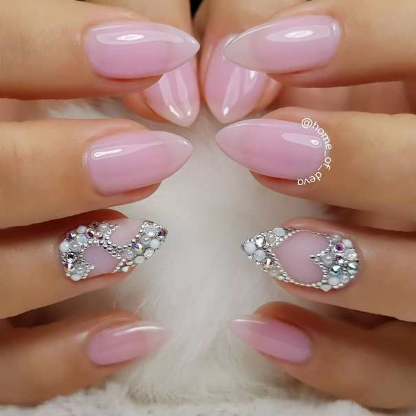 pale pink heart nail design