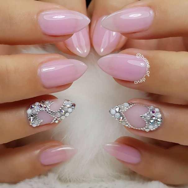 pale pink heart nail design