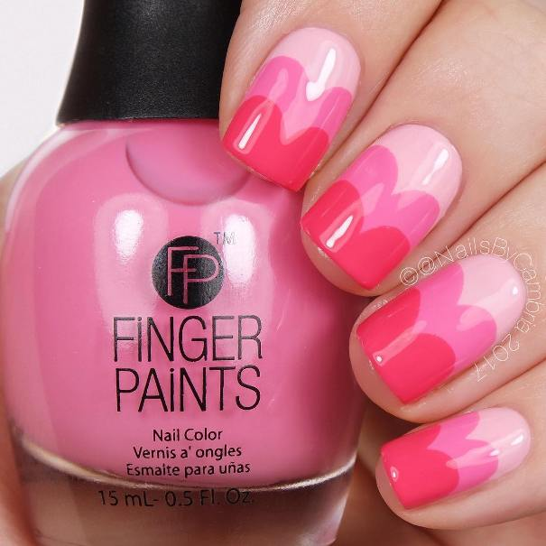 Pink Ombre Sweetheart Nails