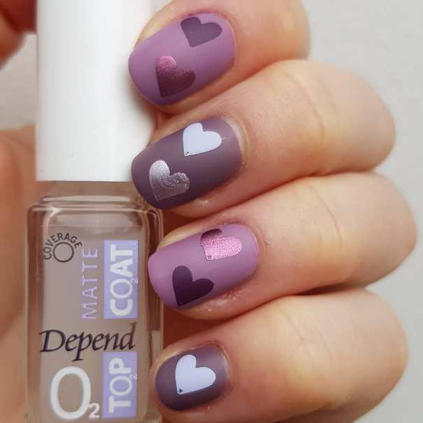 Purple Matte Heart Nail Art