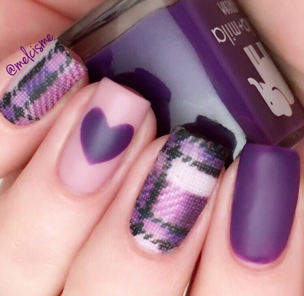 purple plaid and heart nail art