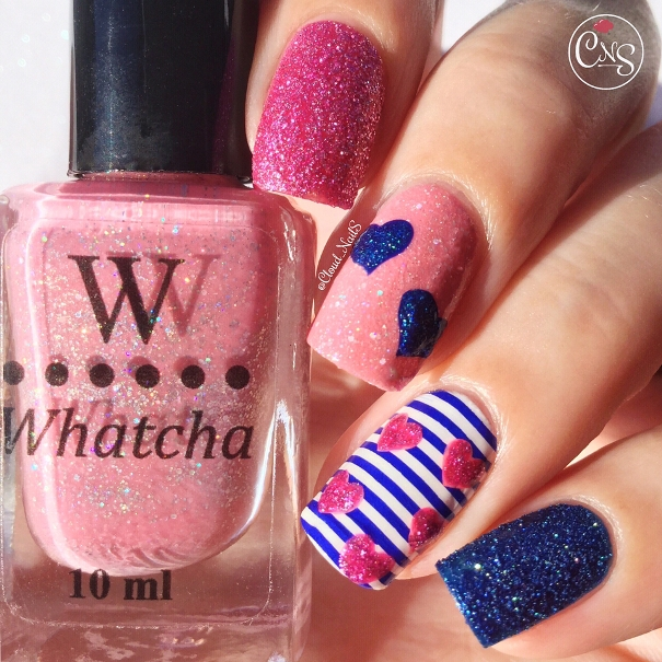 red and blue nail designs