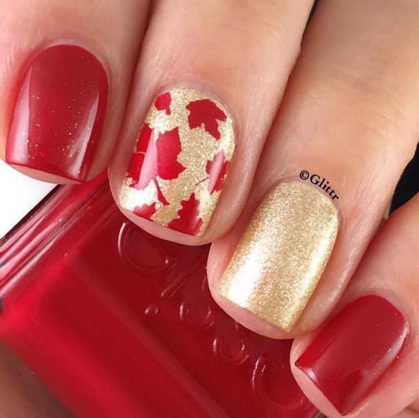 golden autumn nail designs