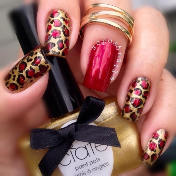 Red and Gold Leopard Nail Design