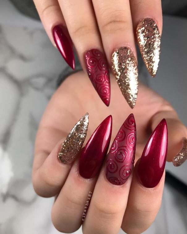 50 Luminous Red And Gold Nail Designs Be Modish