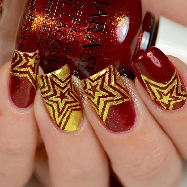 red gold stars nail designs