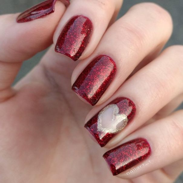 Dark Red and gold glitter Heart Valentine Nail Art
