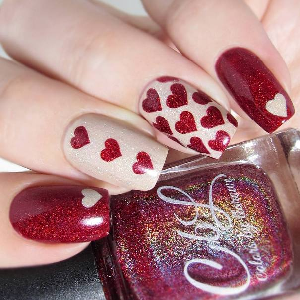 red and nude heart nail art