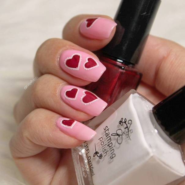 red and pink heart nail art bmodish