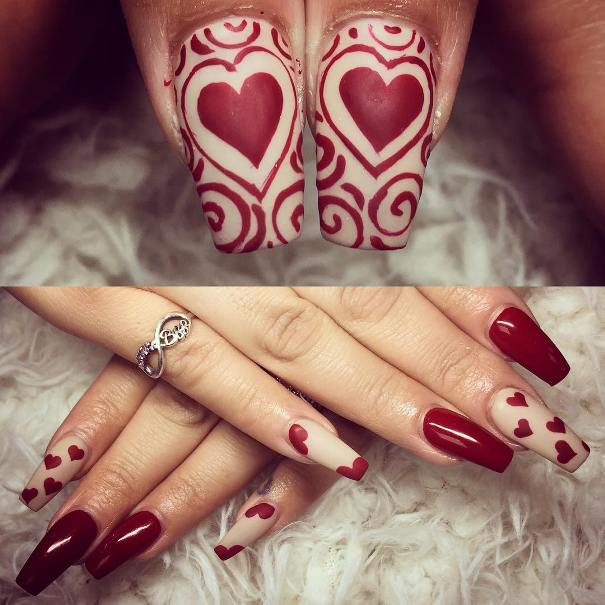 Red and Nude Heart Valentine's Day Nail Design