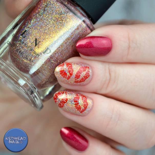 red kiss gold nail designs