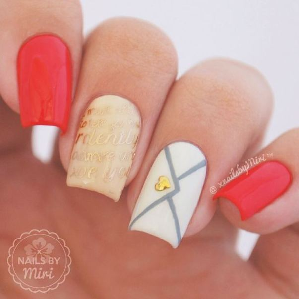 Red White and Gold Love Letter Nail Design