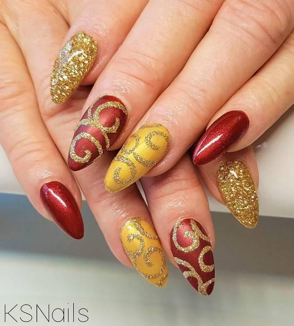 gold and red swirl nail designs bmodish