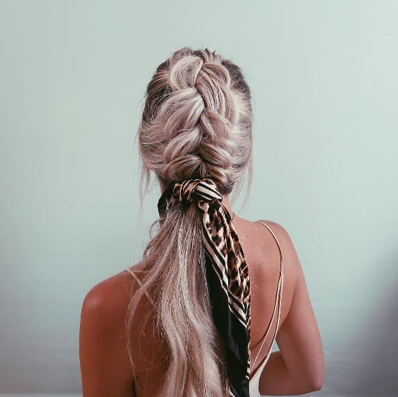beachy braids with hair scarf