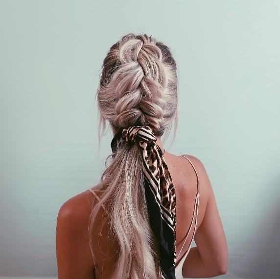 beachy braids with hair scarf