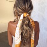 romantic loose ponytail hair scarf summer hairstyles