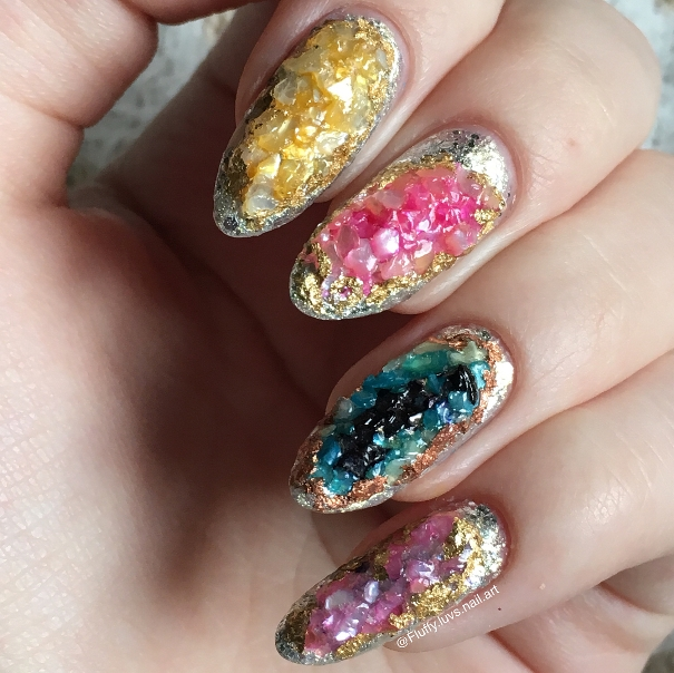 3d colorful geode nail art