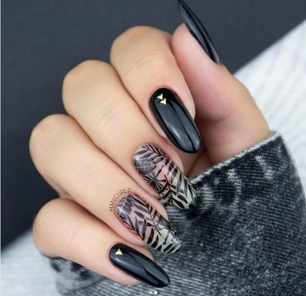 Black tropical negative nails