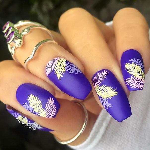 Blue tropical summer nail art bmodish