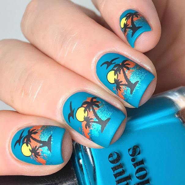 Hawaiian shirt tropical nail designs