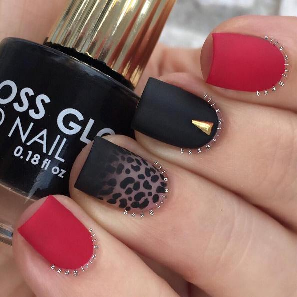Matte Red and leopard black nail art