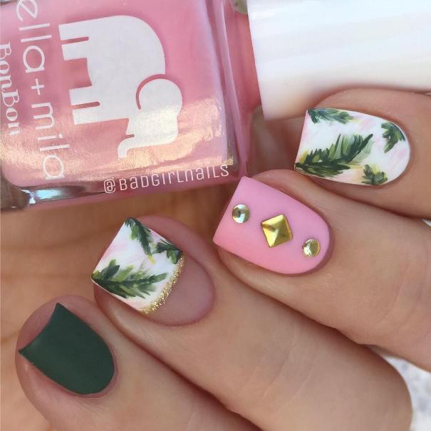 Mix and match palm trees nail design bmodish