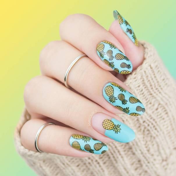 Pineapple tropical summer nail art bmodish