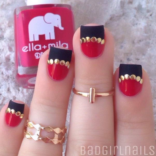 Studded half moon red and black nail art