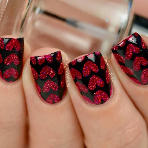 Valentine red and black heart nail design
