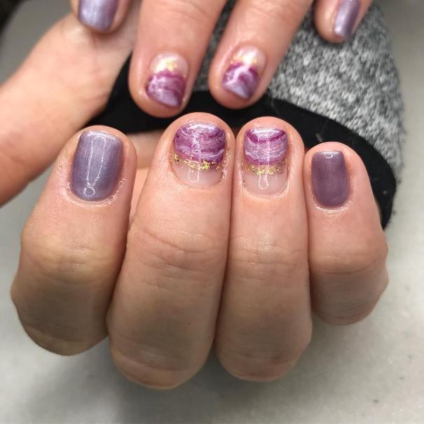 amethyst geode short nail design