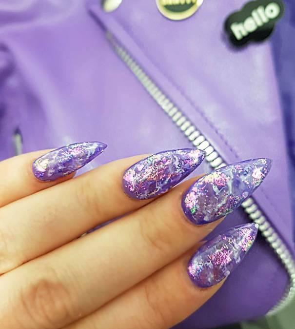 amethyst stone nail design