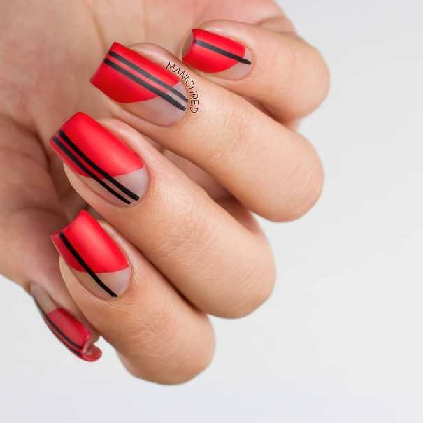 assymetric red and black tape nail design bmodish