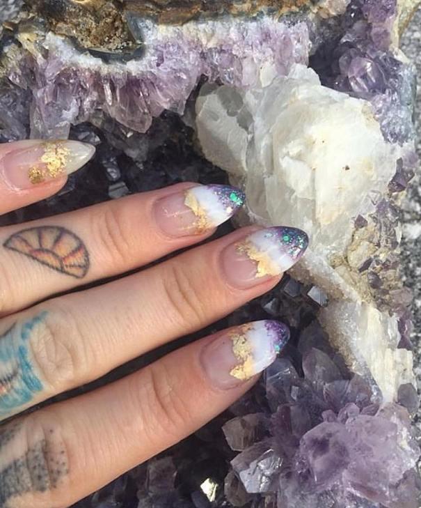 birthstone amethyst nail design