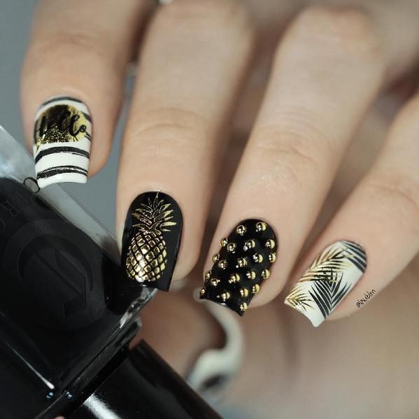 black and gold tropical nails bmodish