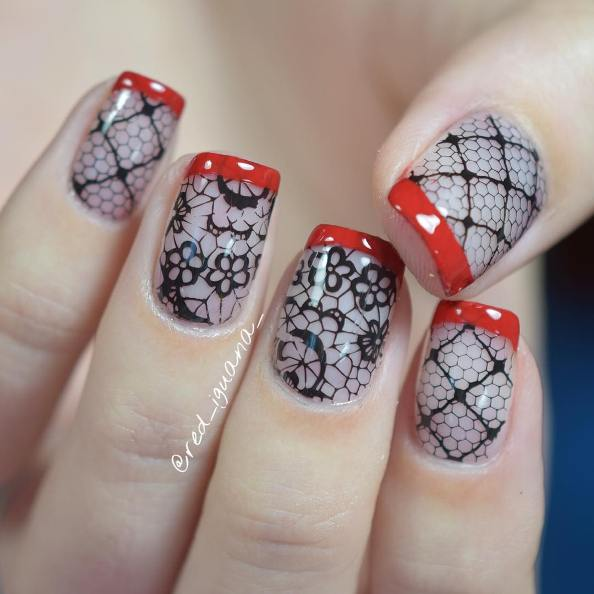 black veil red french nail design