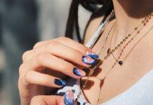 blue crystal geode nail design